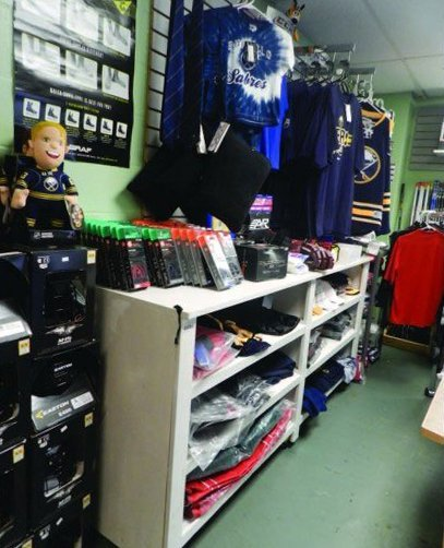 Ice sport equipment for sale at the Northwest Arena Pro Shop