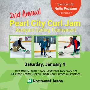 Three people wearing face masks are participating in an ice curling league