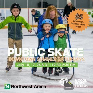 A mom and three kids are ice skating. The two youngest kids are using a trainer. Everyone is smiling.
