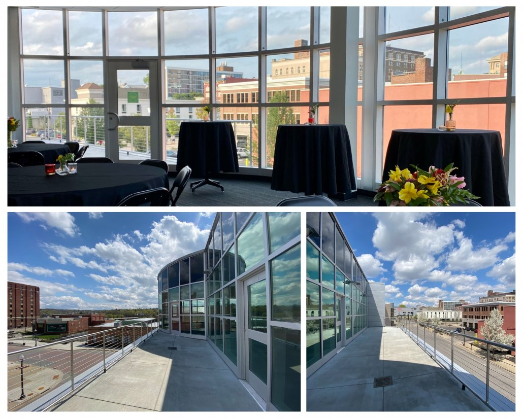 Three photos of the Atrium Boardroom and Patio overlooking downtown Jamestown on a sunny day