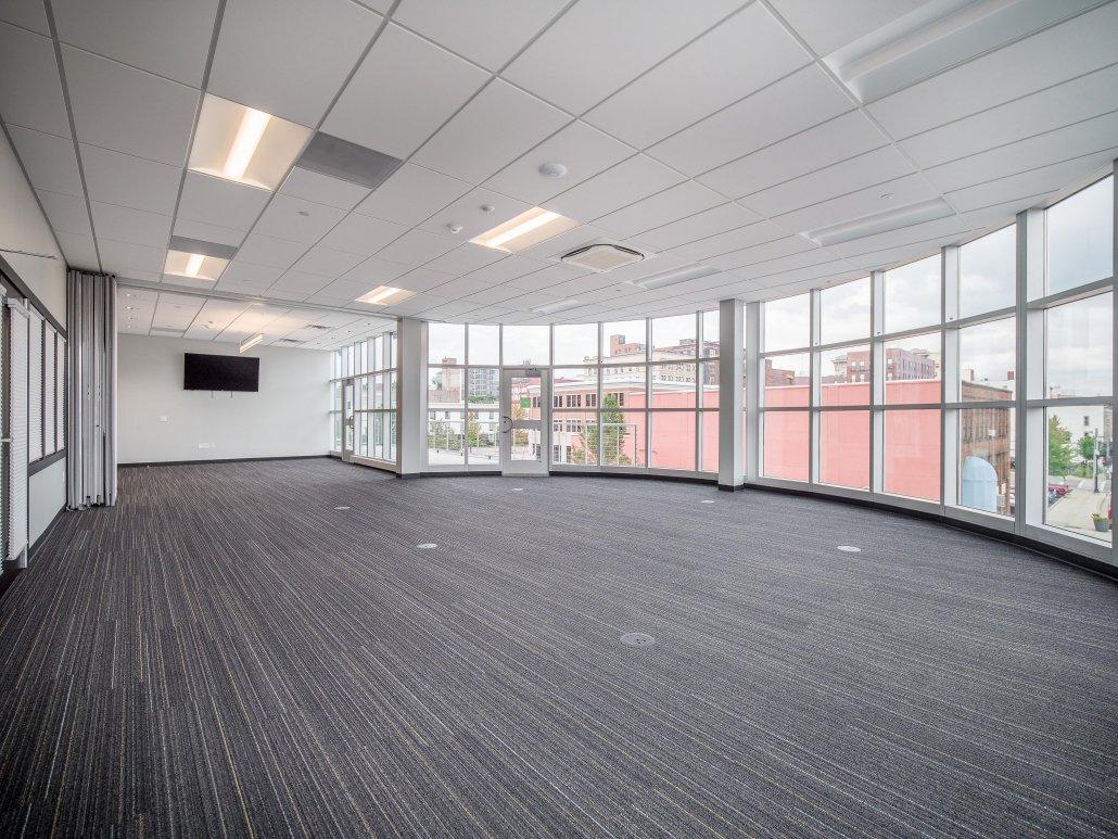 Empty Atrium Boardroom and Rooftop Patio