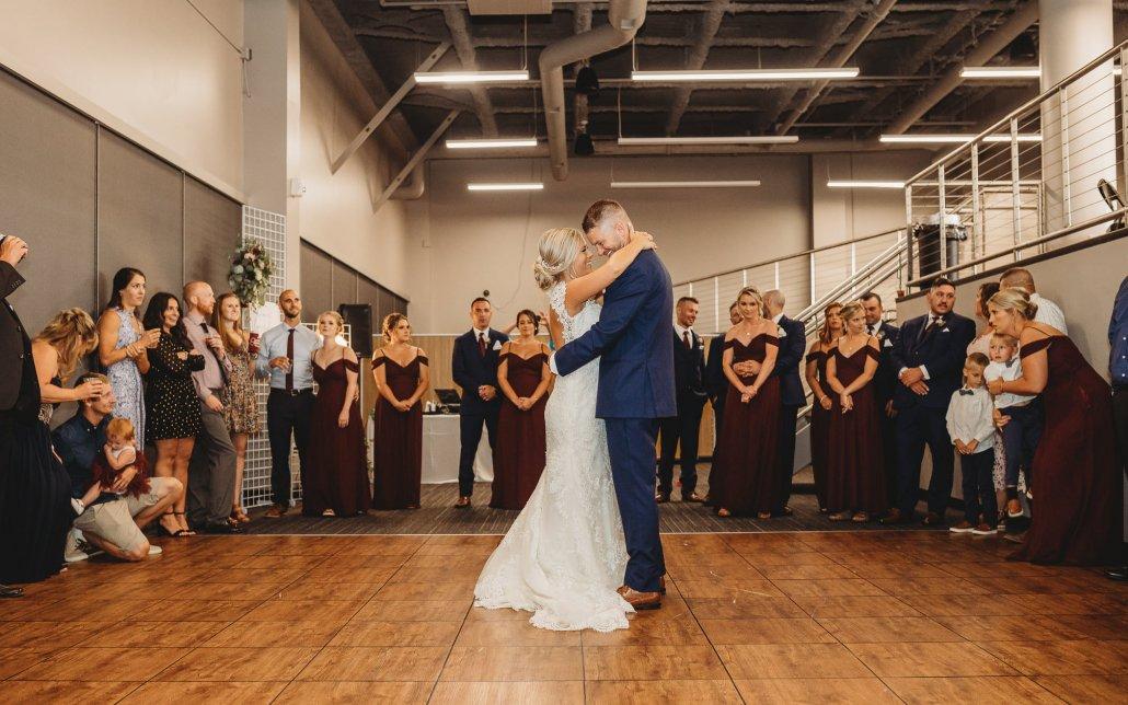 first dance on a dance floor at wedding reception in Jamestown Mattress Arena Club